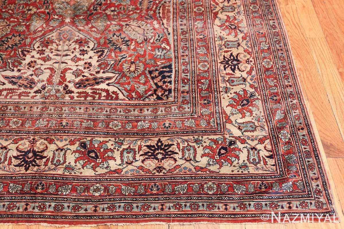 Antique Persian Silk Heriz Carpet 47239 Side Corner Nazmiyal