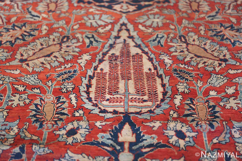 Antique Persian Silk Heriz Carpet 47239 Willow Trees Nazmiyal