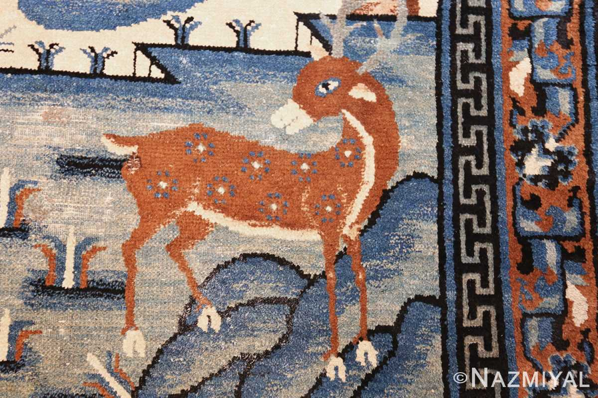 beautiful scenic antique chinese rug 47677 deer Nazmiyal