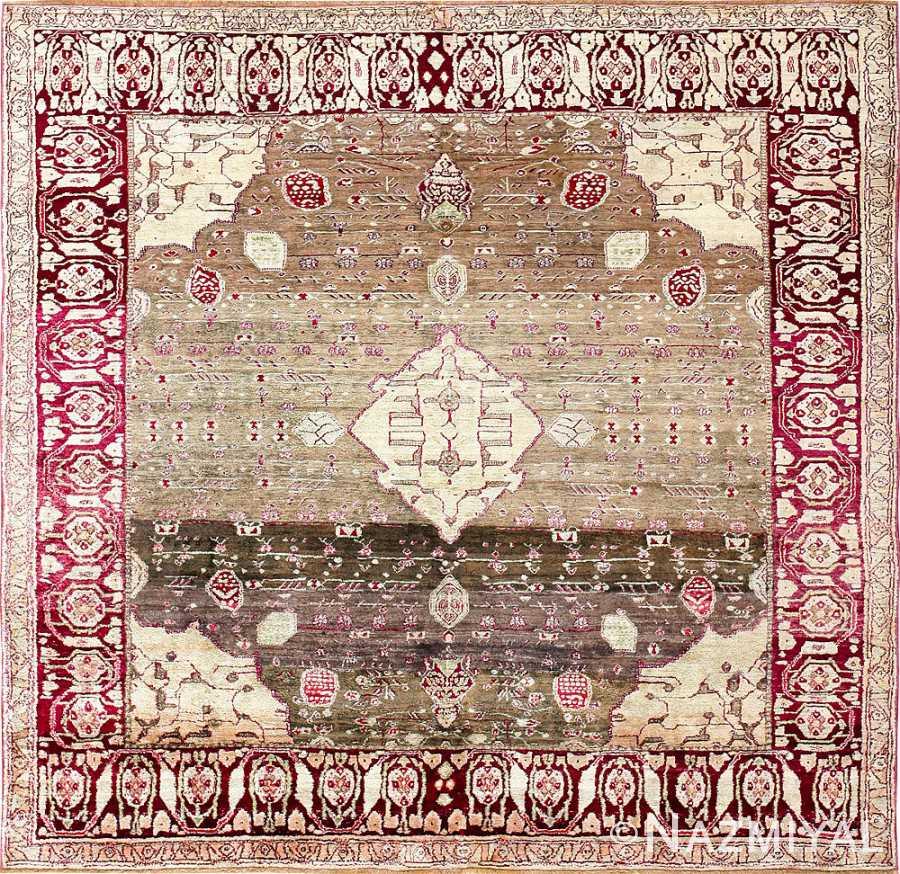Breathtaking Rare Antique Silk Agra Rug 47596 Detail/Large View