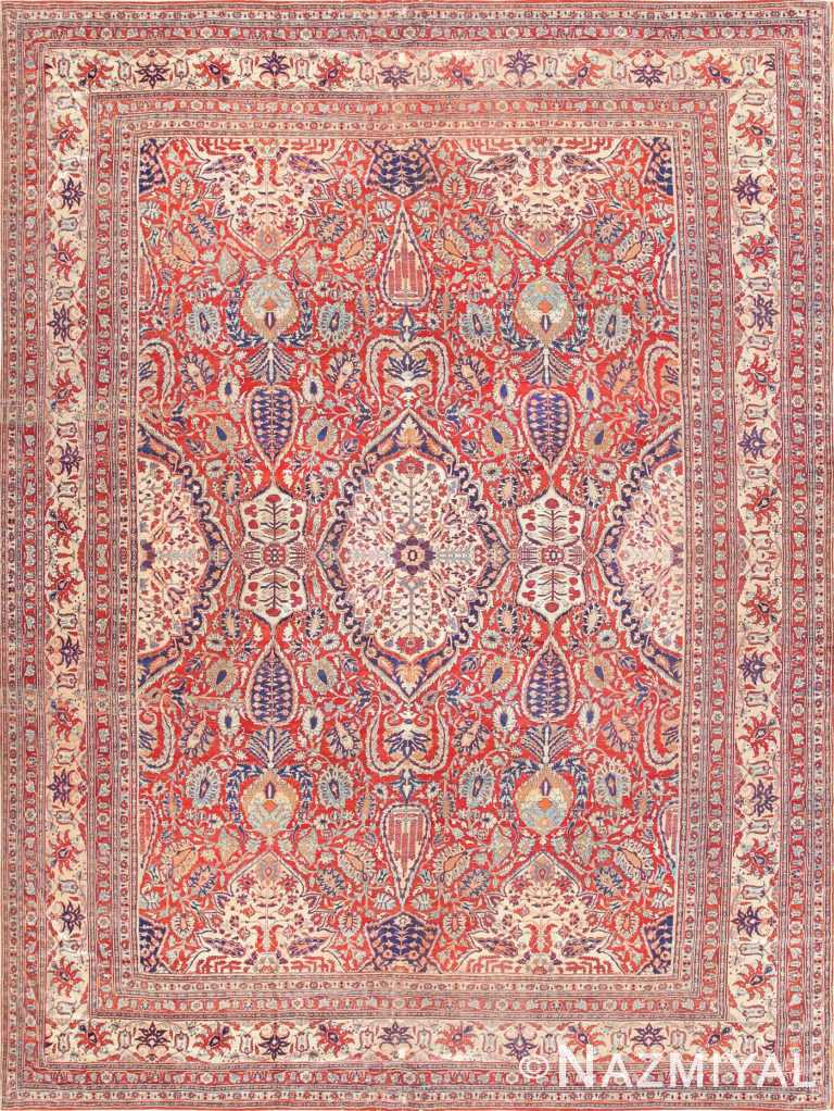 Fine Antique Persian Silk Heriz Carpet 47239 Detail/Large View