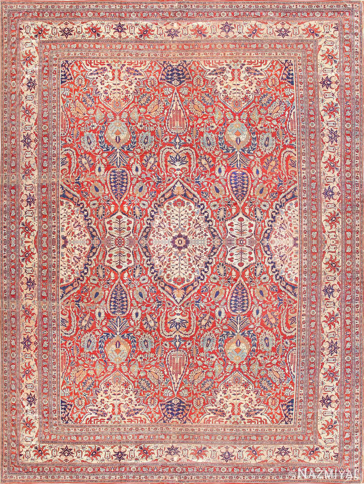 Fine Antique Persian Silk Heriz Carpet 47239 By Nazmiyal