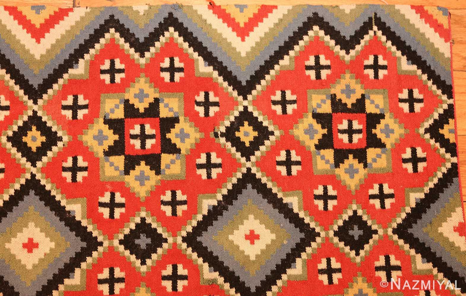flat woven vintage swedish kilim 47674 corner Nazmiyal