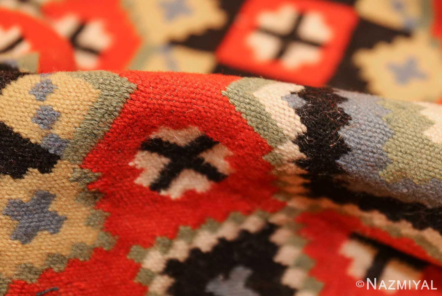 flat woven vintage swedish kilim 47674 pile Nazmiyal