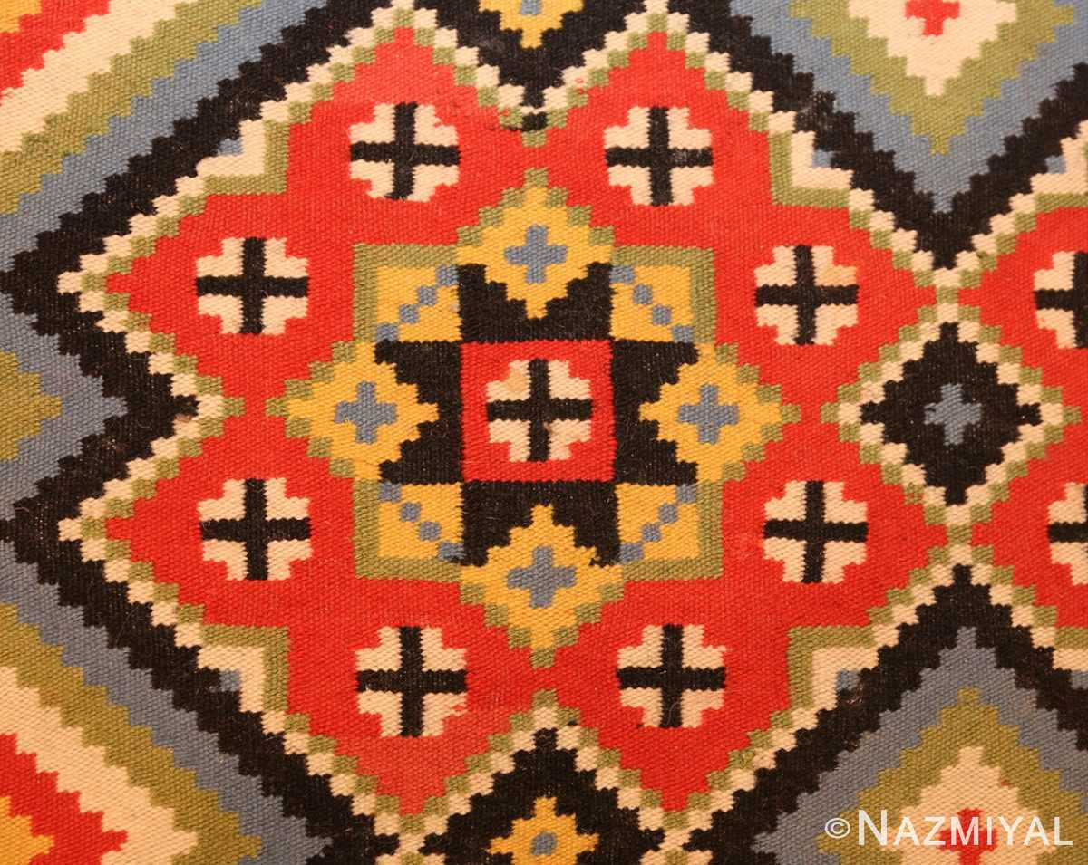 flat woven vintage swedish kilim 47674 red Nazmiyal