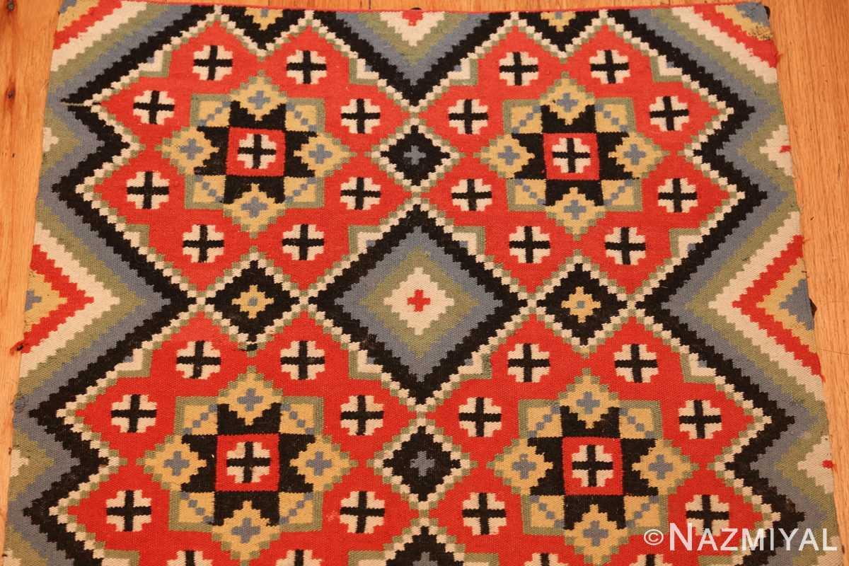 flat woven vintage swedish kilim 47674 top Nazmiyal