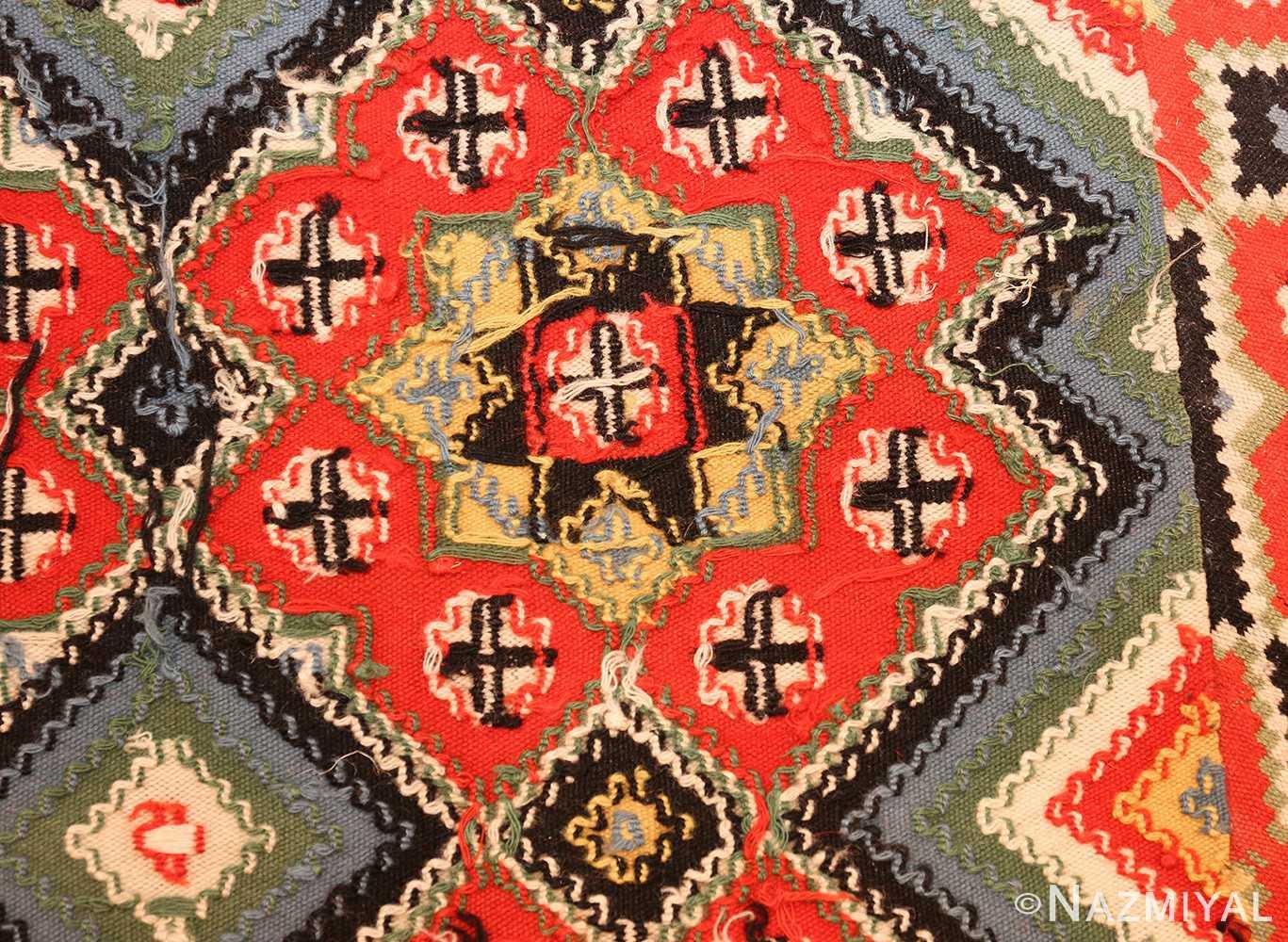 flat woven vintage swedish kilim 47674 weave Nazmiyal