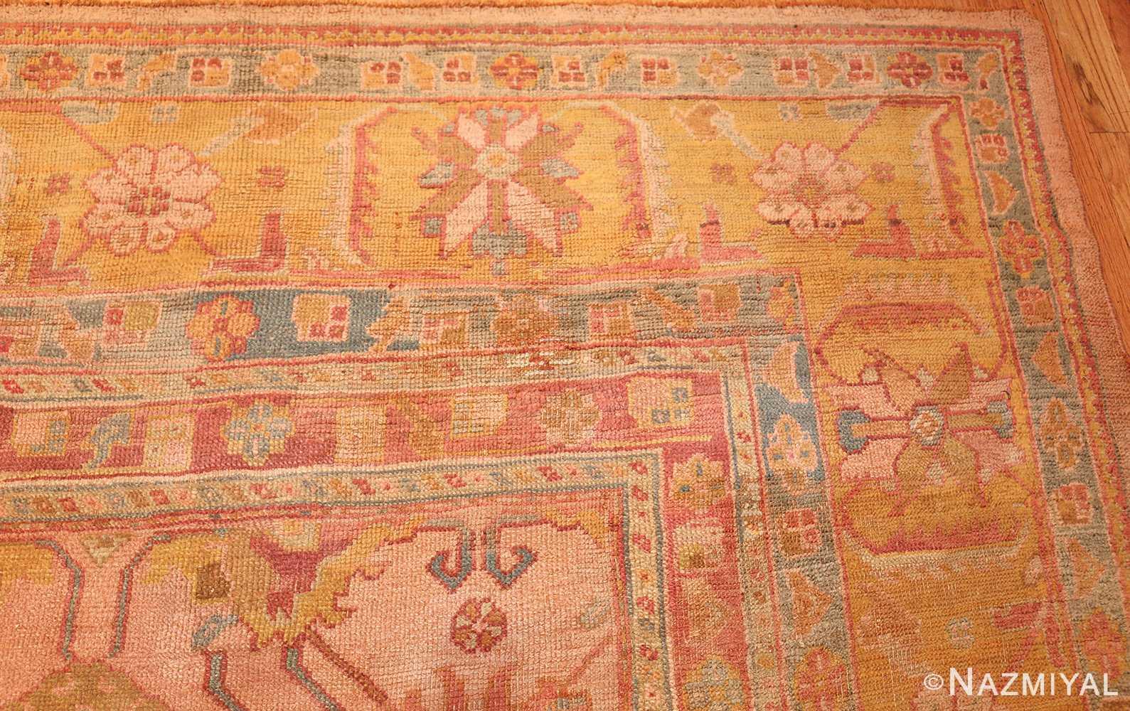 large antique turkish oushak rug 47427 corner Nazmiyal