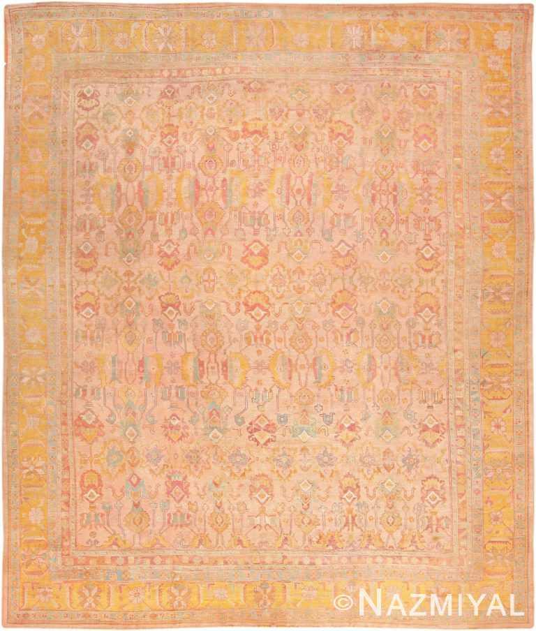 Large Soft Color Antique Turkish Oushak Rug #47427 by Nazmiyal Antique Rugs