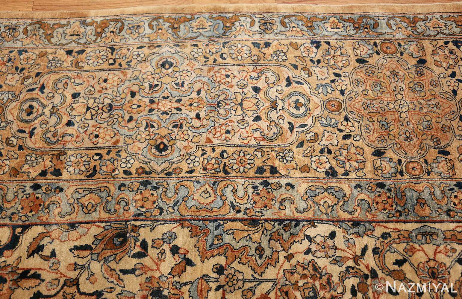 large oversize ivory background persian antique kerman rug 47527 border Nazmiyal
