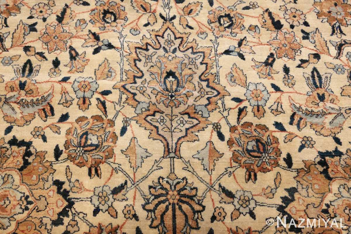 large oversize ivory background persian antique kerman rug 47527 closeup Nazmiyal