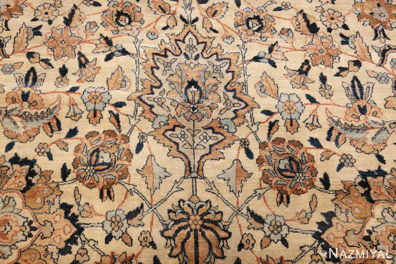 large oversize ivory background persian antique kerman rug 47527 closeup Nazmiyal