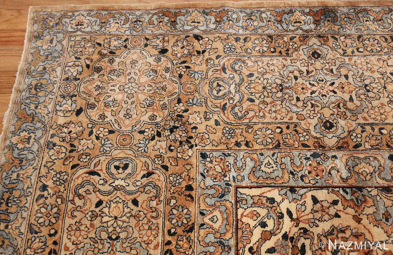 large oversize ivory background persian antique kerman rug 47527 corner Nazmiyal
