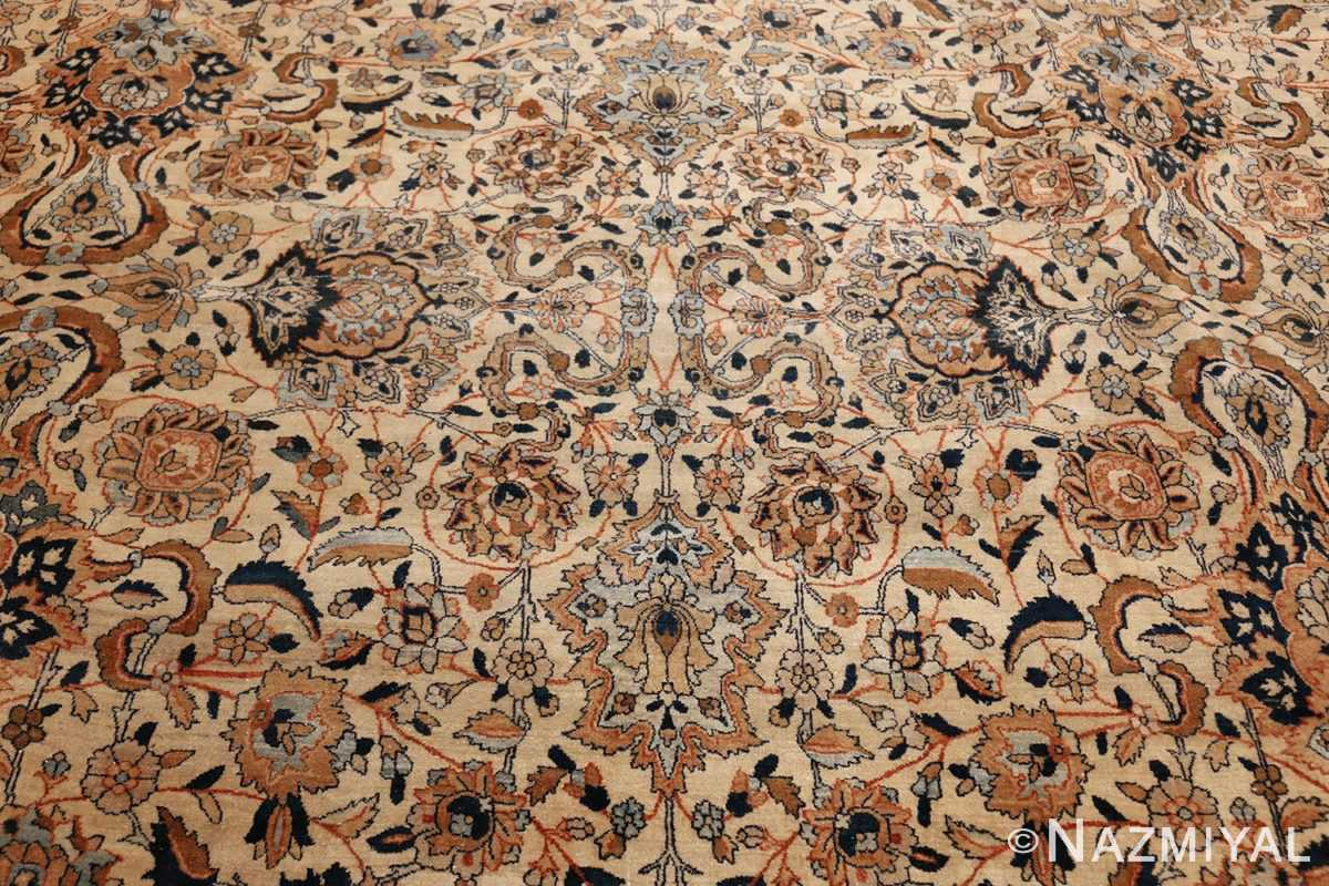 large oversize ivory background persian antique kerman rug 47527 field Nazmiyal