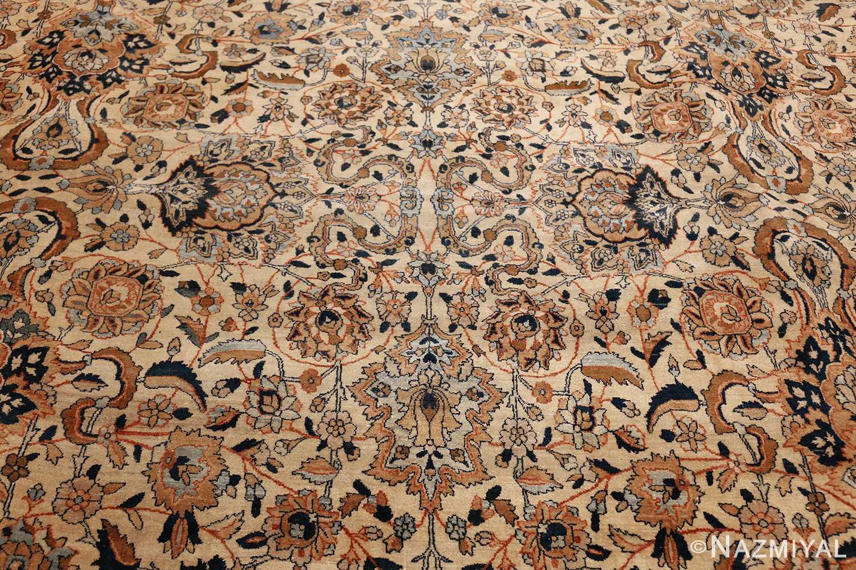 large oversize ivory background persian antique kerman rug 47527 field Nazmiyal