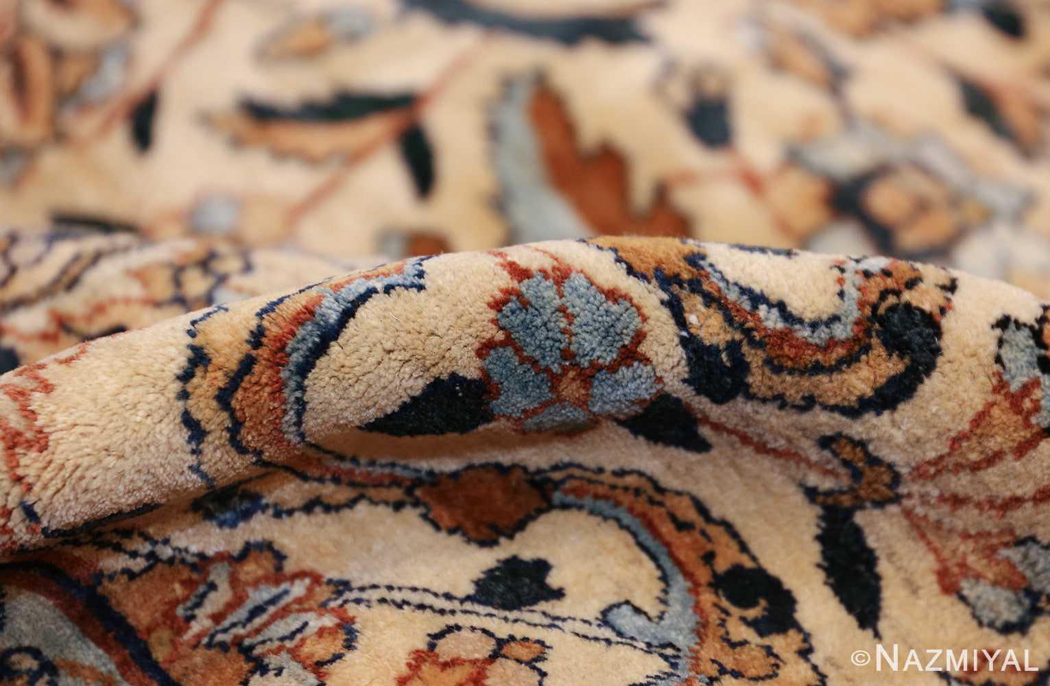 large oversize ivory background persian antique kerman rug 47527 pile Nazmiyal