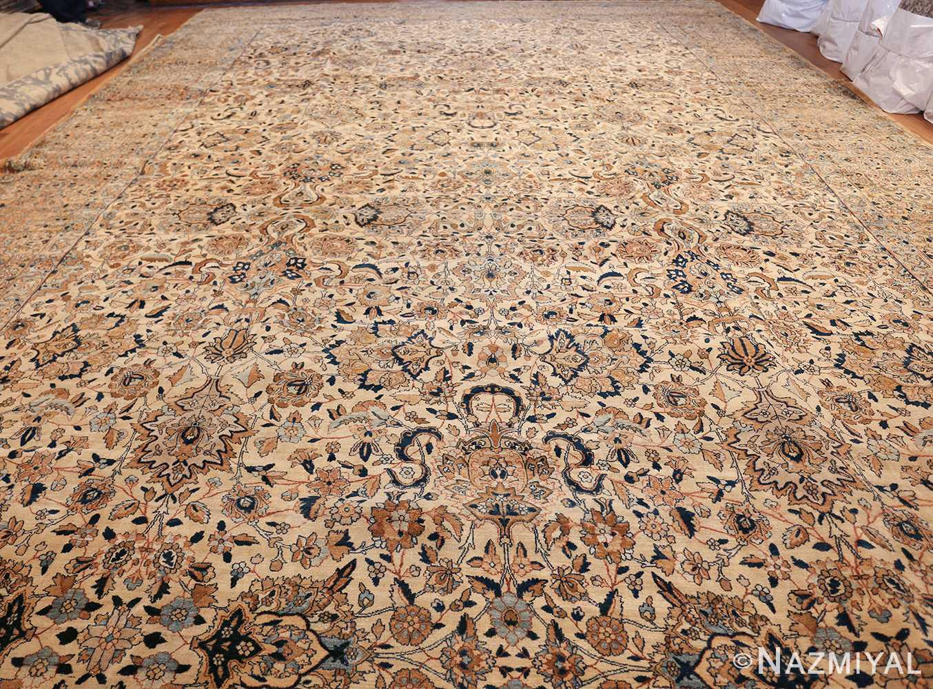 large oversize ivory background persian antique kerman rug 47527 whole Nazmiyal