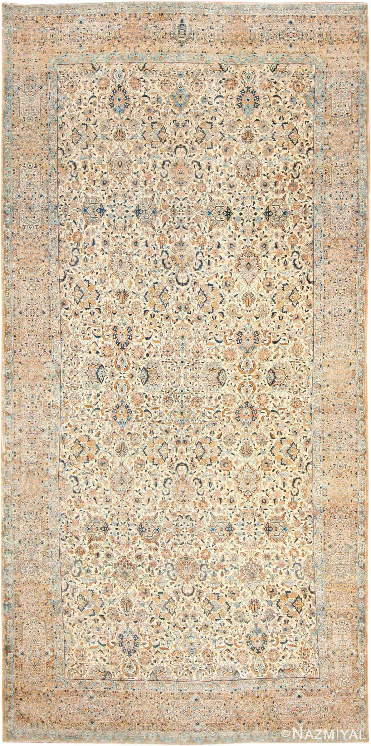 Oversize Ivory Background Antique Kerman Rug 47527 Nazmiyal