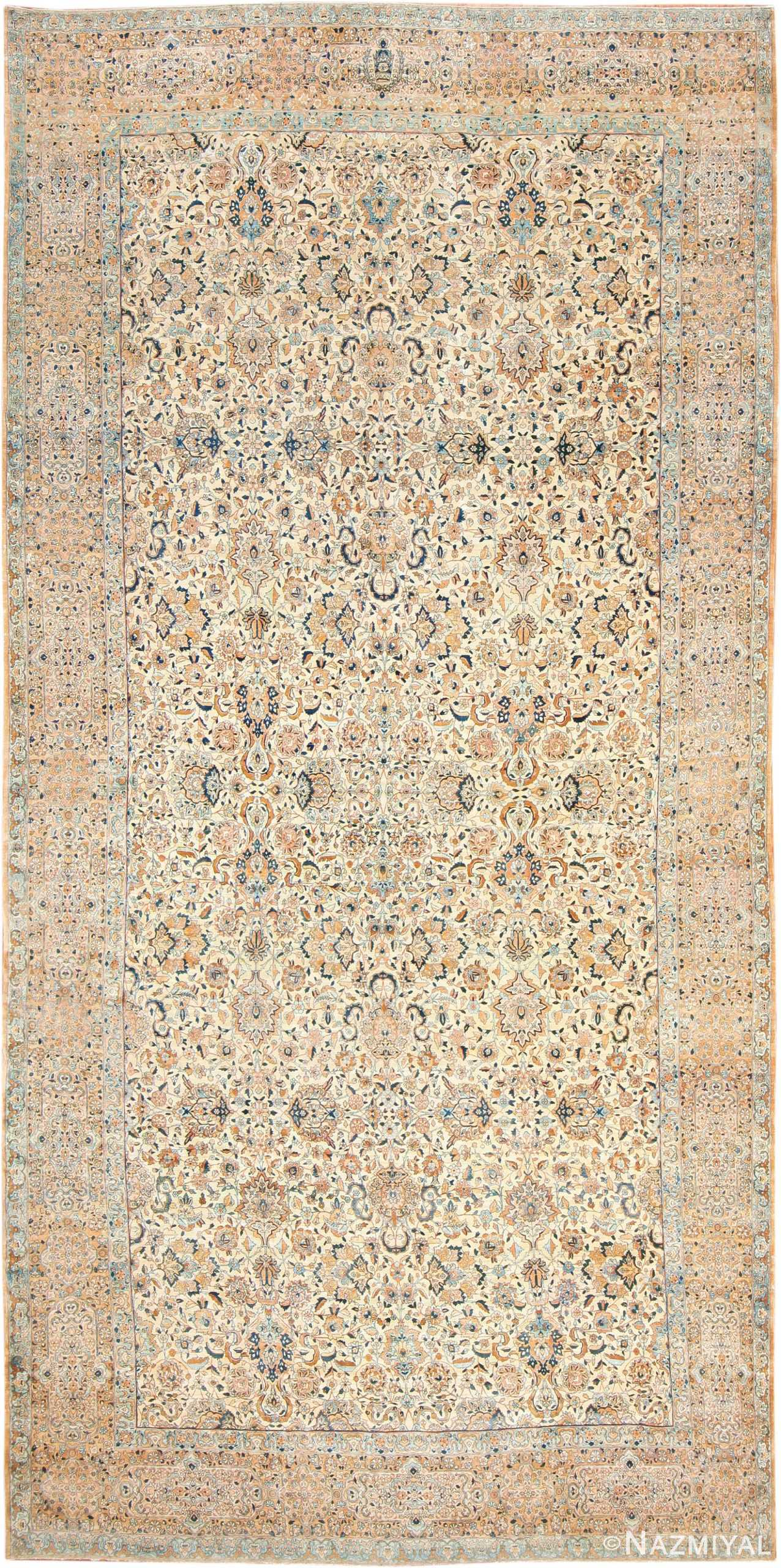 Oversize Ivory Background Antique Kerman Rug 47527 Nazmiyal