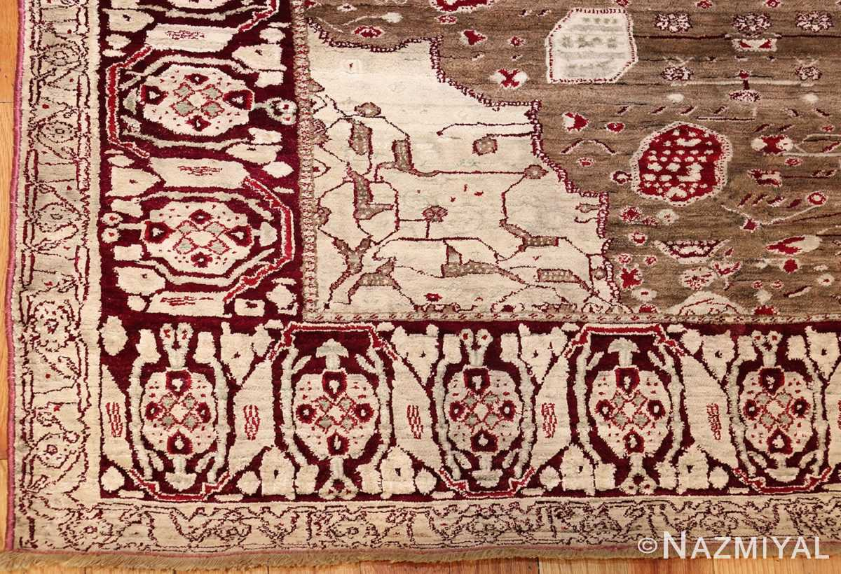 rare antique silk indian agra rug 47596 corner Nazmiyal