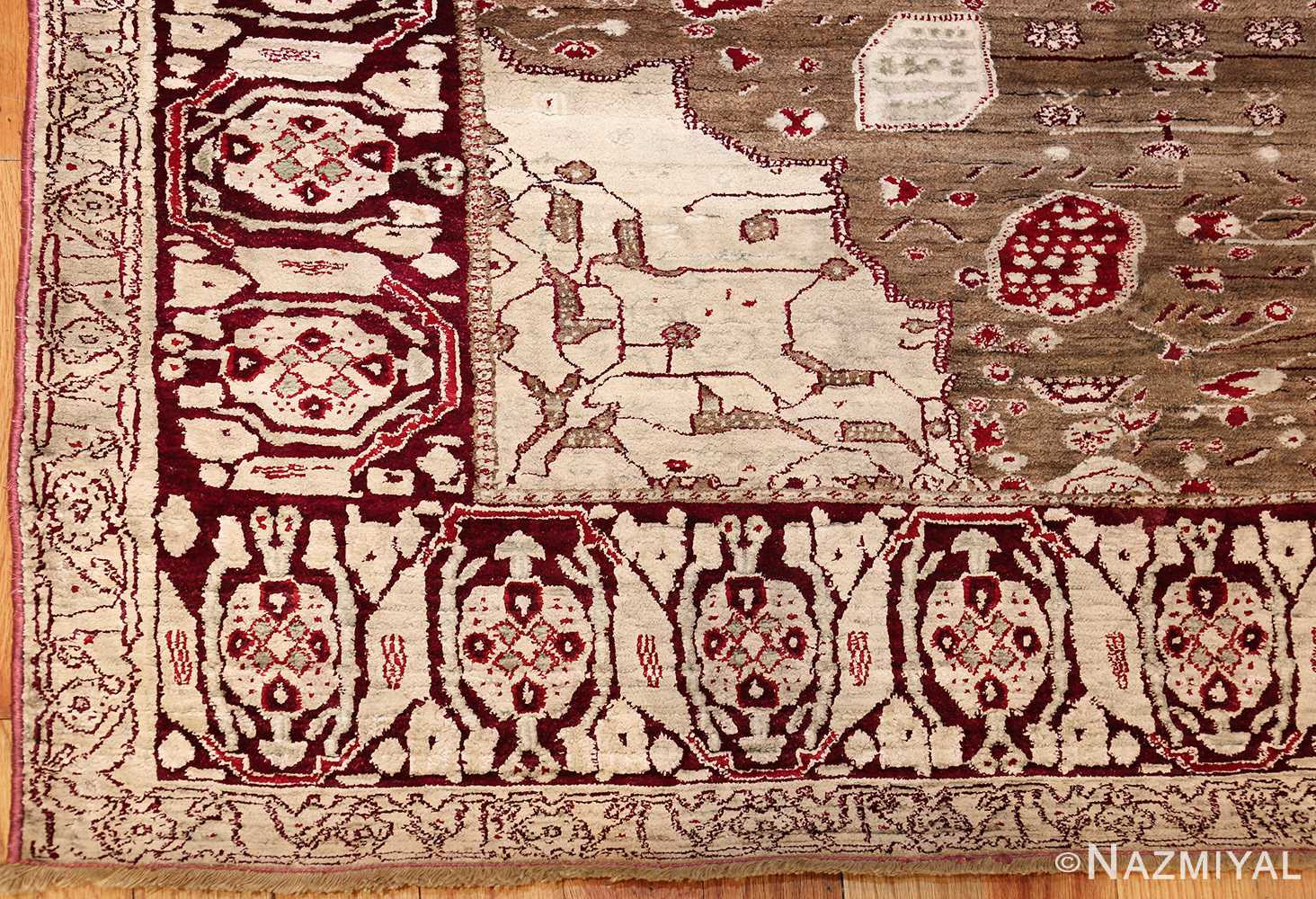 rare antique silk indian agra rug 47596 corner Nazmiyal