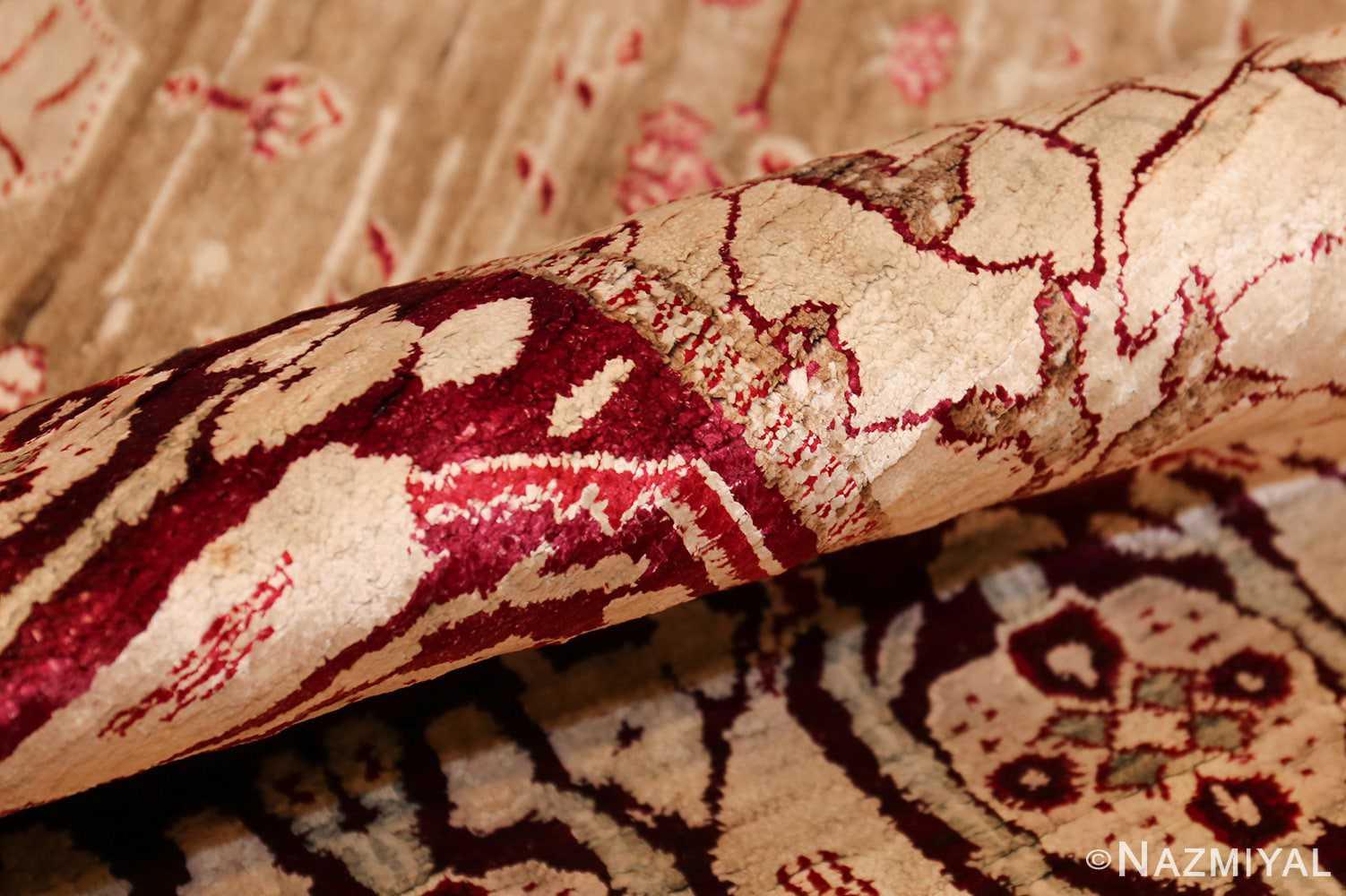 rare antique silk indian agra rug 47596 pile Nazmiyal