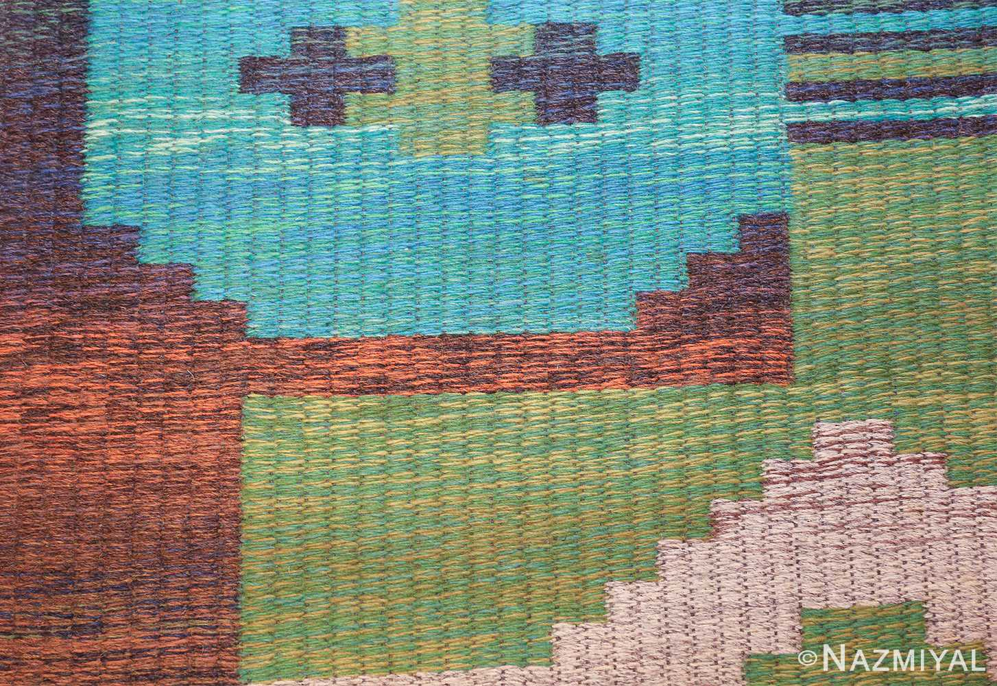 vintage double sided scandinavian rug 47679 colors Nazmiyal