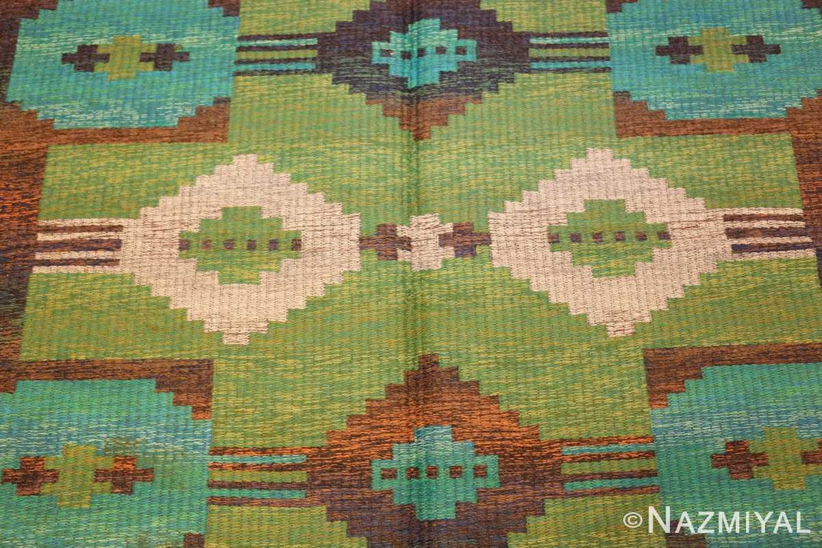 vintage double sided scandinavian rug 47679 field green Nazmiyal