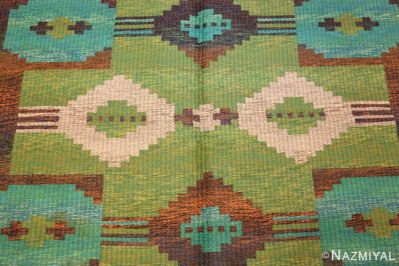 vintage double sided scandinavian rug 47679 field green Nazmiyal