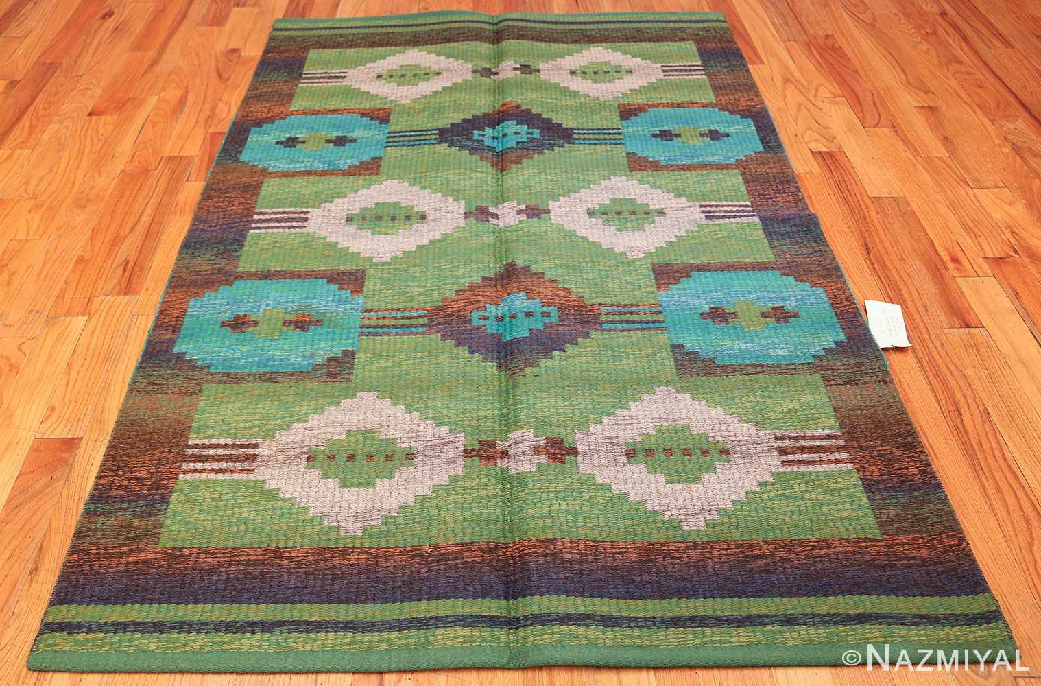 vintage double sided scandinavian rug 47679 green Nazmiyal