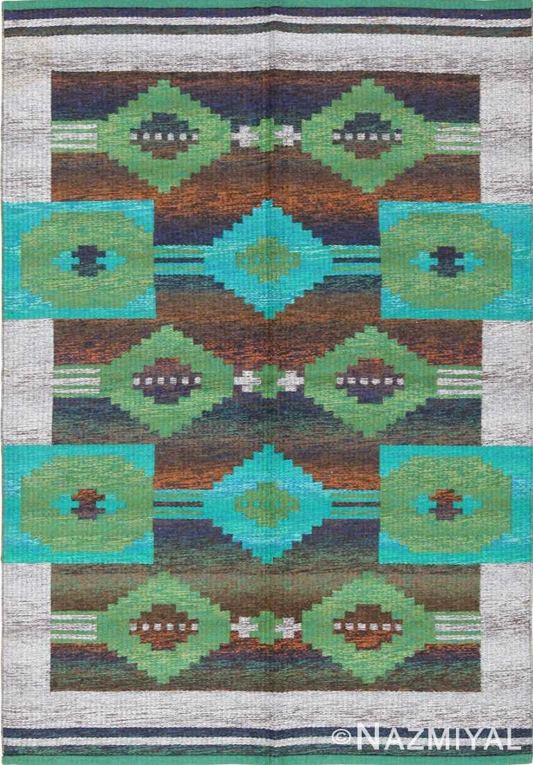 vintage double sided scandinavian rug 47679 Nazmiyal