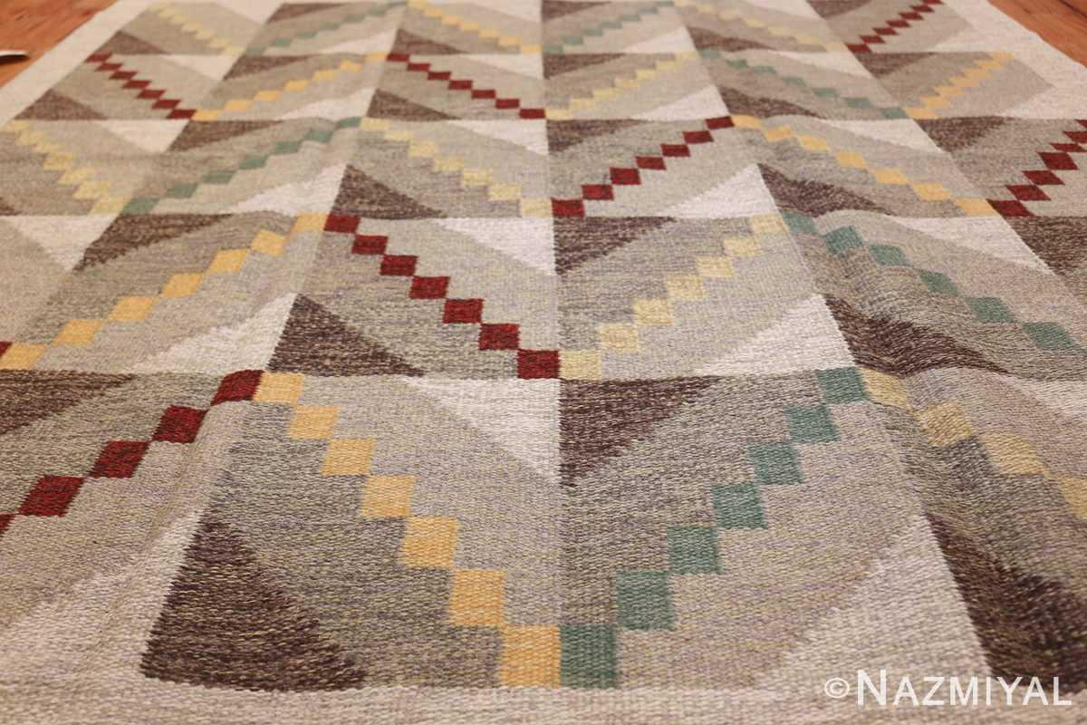 Vintage Scandinavian Swedish Rug by Brita Grahn 47668 Geometric Field Nazmiyal