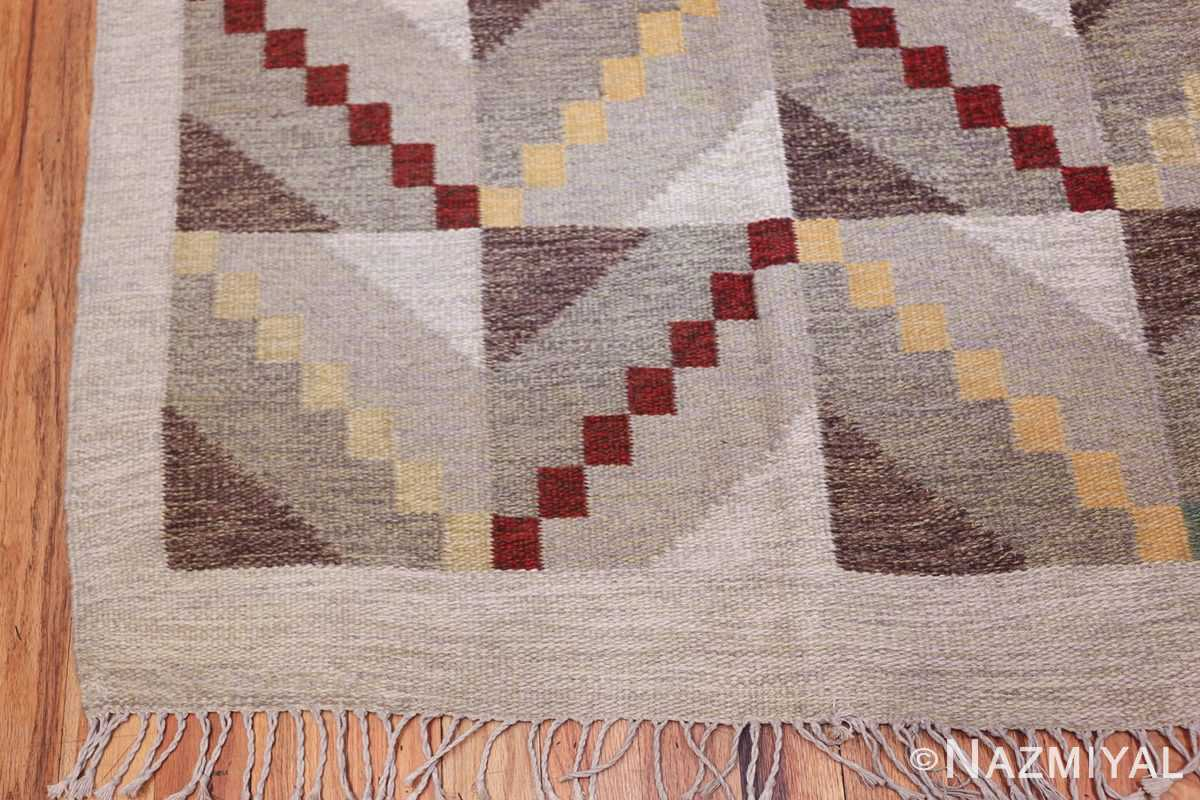 Vintage Scandinavian Swedish Rug by Brita Grahn 47668 Side Corner Nazmiyal