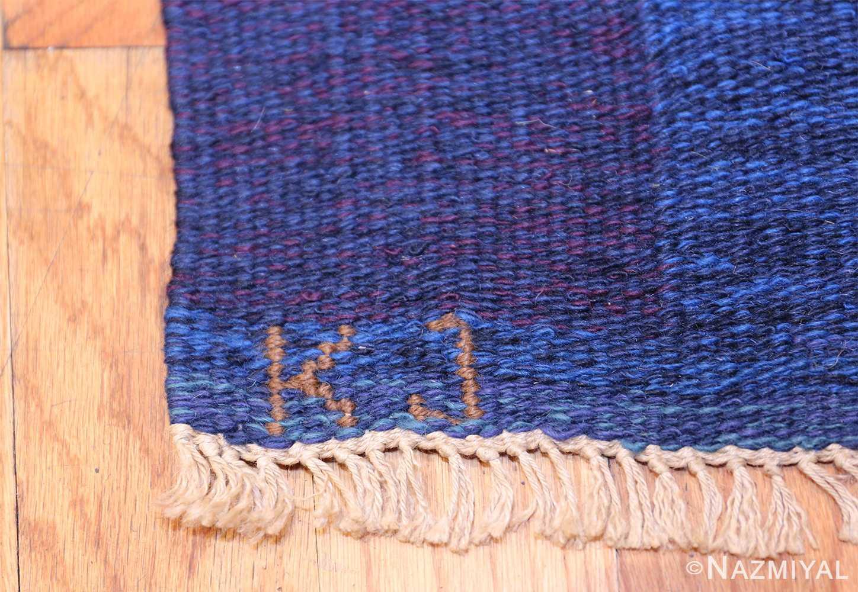 Vintage Swedish Rug by Karin Jonsson 47666 Signature Initials Nazmiyal
