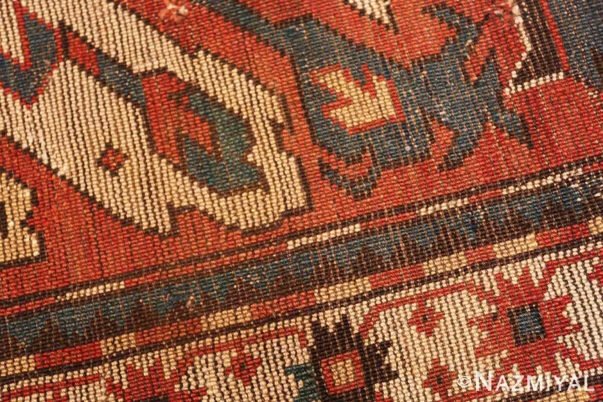 Weave detail Antique Eagle Kazak rug 47608 by Nazmiyal