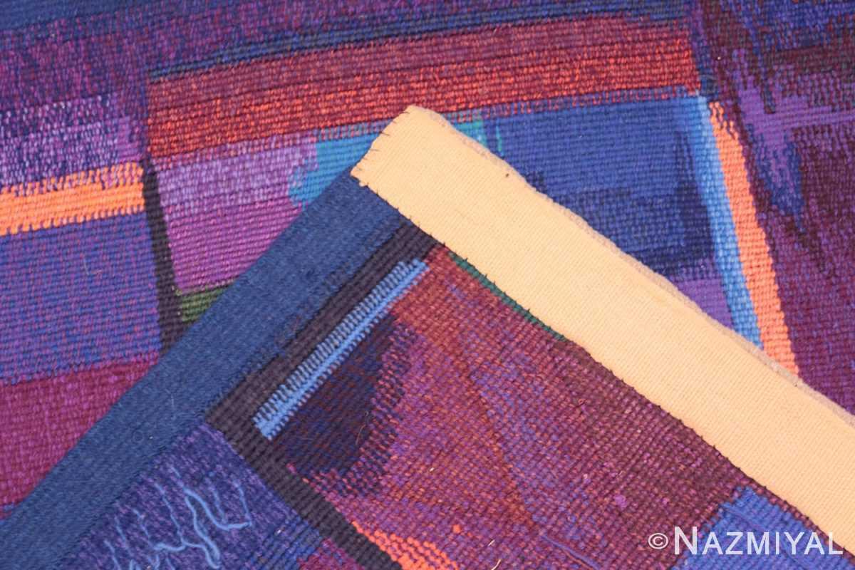 Weave detail Vintage Norwegian tapestry rug designed by Eevahenna Aalto 47673 by Nazmiyal