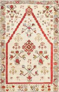 Small Antique Ivory Turkish Kirshehir Rug 47476 Detail/Large View