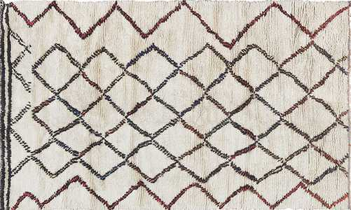 Vintage Ivory Beni Ourain Moroccan Rug 49898 - Nazmiyal