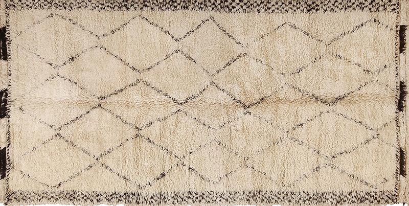 Vintage Ivory Shag Moroccan Beni Ourain Rug 49891 - Nazmiyal