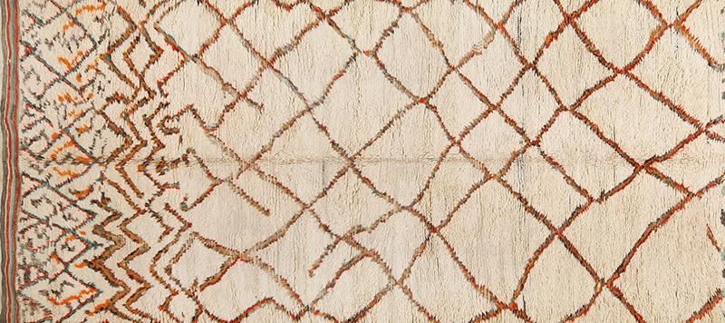 Vintage Ivory Shag Pile Moroccan Berber Rug 49894 - Nazmiyal