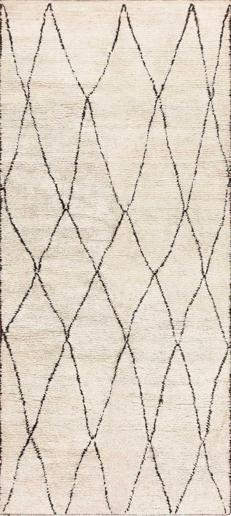Cream and Black Vintage Moroccan Beni Ourain Carpet 47928 Nazmiyal