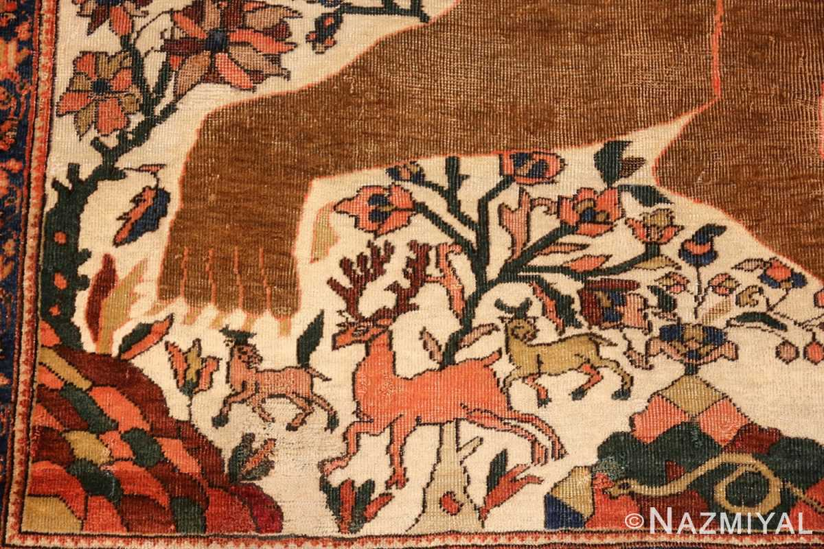antique persian farahan mythological rug 47606 deers Nazmiyal