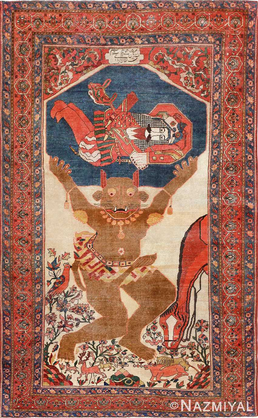 Antique Persian Mythological Sarouk Farahan Rug 47606 Nazmiyal