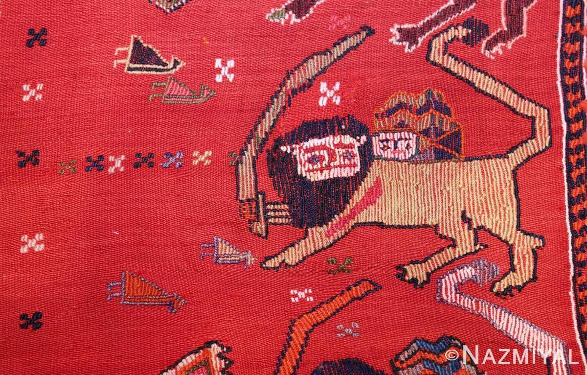 antique persian qashqai horse cover 47878 lion Nazmiyal