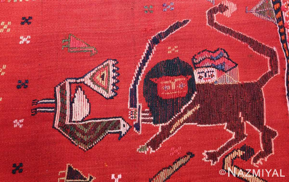 antique persian qashqai horse cover 47878 red lion Nazmiyal