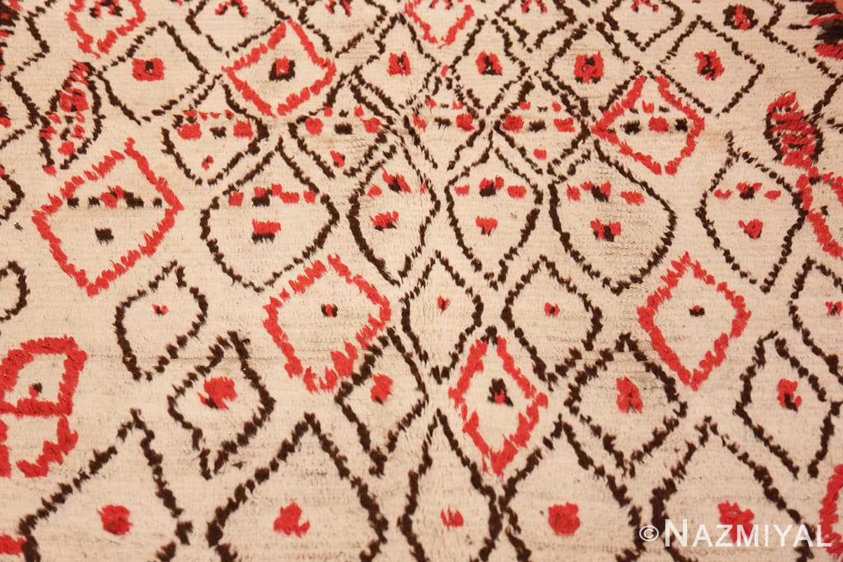 Background Rare White and Red Vintage Moroccan carpet 47954 by Nazmiyal
