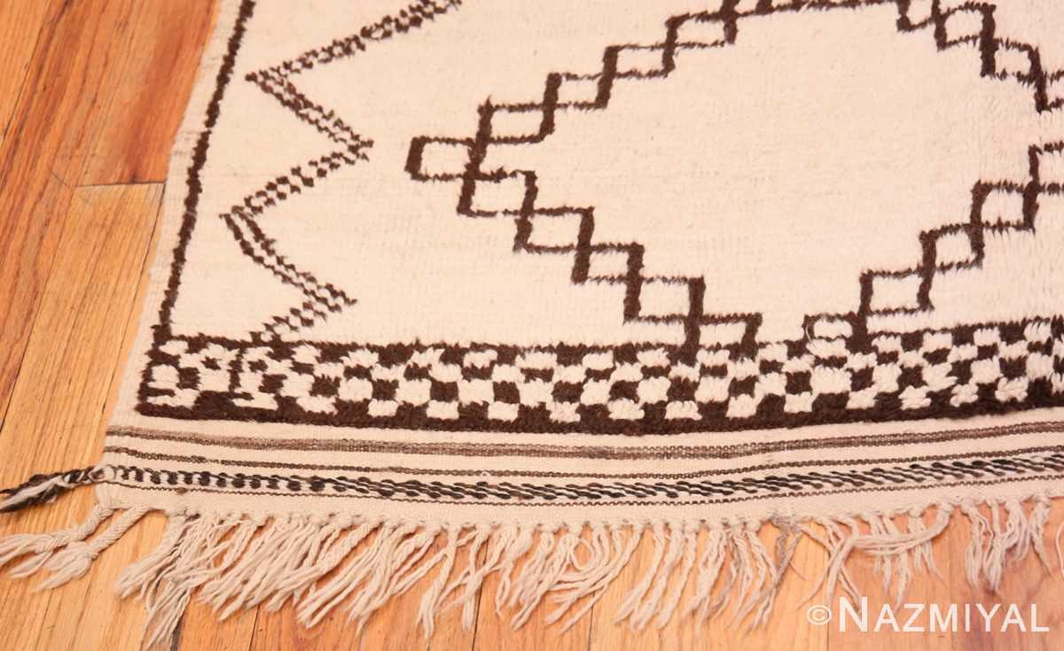 Corner Vintage Ivory and Brown Moroccan rug 47953 by Nazmiyal