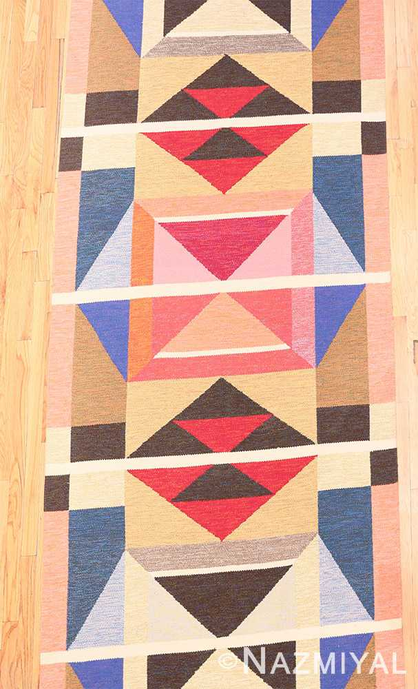 Field Large Vintage Swedish wide hallway runner rug by A.Osterberg 47667 by Nazmiyal