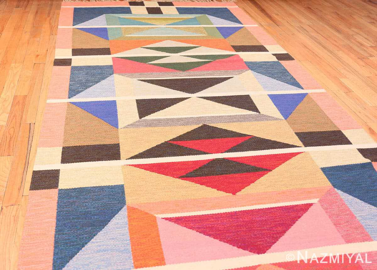 Full Picture of the border from the Large Vintage Swedish wide hallway runner rug by A.Osterberg 47667 by Nazmiyal