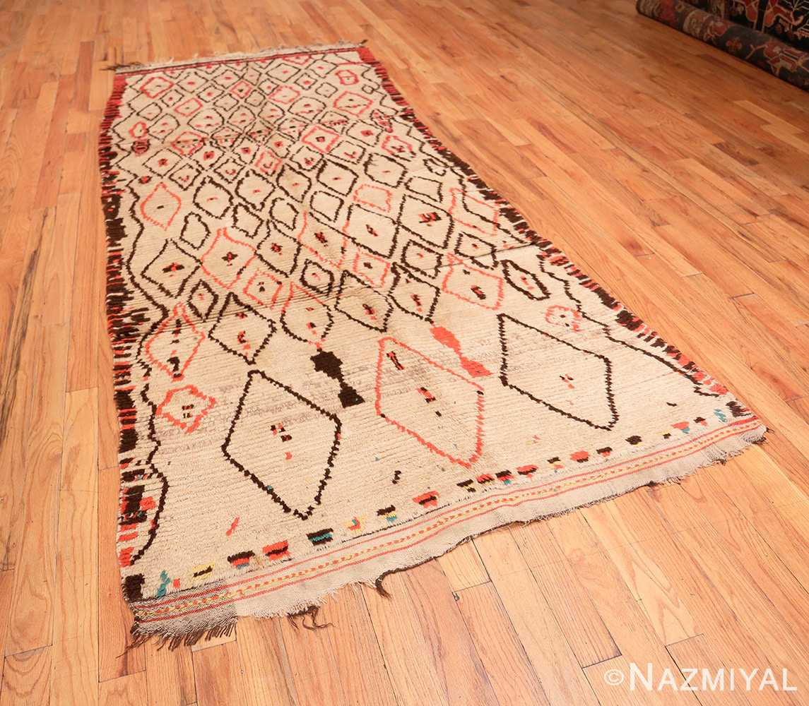 Full Rare White and Red Vintage Moroccan carpet 47954 by Nazmiyal